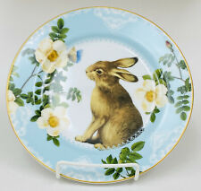 Williams Sonoma Spring Garden Rabbit Bunny Floral Gold Trim Salad Plate 9""