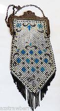 ART DECO ANTIQUE MANDALIAN ENAMELED MESH DIAMOND PATTREN HANDBAG PURSE W FRINGE