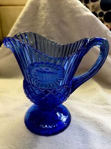 Antique Vintage Avon Cobalt  blue glass gravy sauce dish server