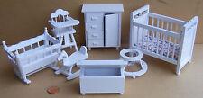 1:12th Scale 7 Piece White Nursery Set Dolls House Miniature Bedroom 269