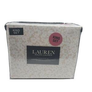 Lauren Ralph Lauren 4 PC KING Floral White Hibiscus Tan Backing Sheet Set Cotton