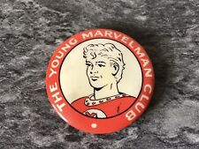"RARE ""THE YOUNG MARVELMAN CLUB"" LAPEL PIN BADGE. 1950s COMIC SUPERHERO."