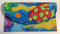 """Handmade Fabric Bags Clutch with Snap Closer 4""""X6.5"""" 2 Inner Pockets Sea & Fish"""