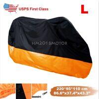 US L Large Motorcycle Cover Motorbike Waterproof UV Dust Protector Rain Orange