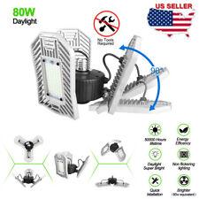 E26 80W 8000 Lumens 216 LED Garage Light Ceiling Bulb Lamp Deformable 3-Leaves