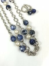 Women's Necklace and Clip Earrings Silver Color with Blue Marble and Faux Pearls