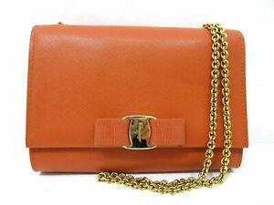 Authentic Excellent Salvatore Ferragamo Vara Chain Shoulder Bag Dust Bag 63116