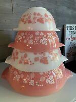 Vtg Pyrex Gooseberry Pink Cinderella Nesting Mixing Bowls Set 441 442 443 444