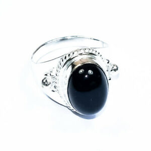 """Black Onyx     925 Sterling Silver Jewelry Ring 8"""""""