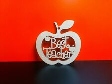 5 x  Mdf Best Teacher Funky hanging Apples 1 hole