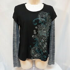 Appropriate Behavior Black and Turquoise Faux Undershirt Shirt Size L 12-14