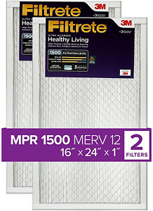 Filtrete 16x24x1, AC Furnace Air Filter, MPR 1500, Healthy Living Ultra 2-Pack