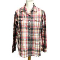 Wrangler Wrancher Women's Western Shirt Pearl Snap Pink Orange Plaid Size Med