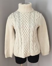 Peregrine Chunky Wool Wngland Cream Turtleneck Sweater Cable Women's Size S