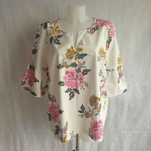 New Joules Top Womens Size UK 18 White Floral Print 100% Cotton Casual 113713