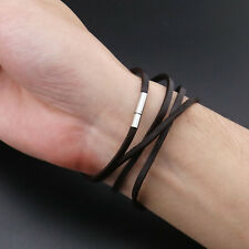 Multi-Layer Leather Bracelet for Men With Steel Clasp Dark Brown 78cm