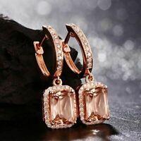 4 Ct Emerald Cut Morganite Drop & Dangle Diamonds Earrings 14K Rose Gold Over