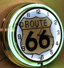 "18"" Route 66 Sign Double Neon Clock Drive America Mother Road"