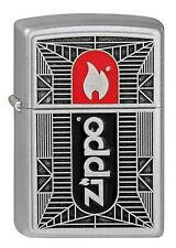 ZIPPO Feuerzeug Black / Red Chrome m. Emblem 3D Zippo Logo Flamme NEU OVP
