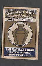 Ancienne  étiquette de paquet  Allumettes Inde BN1374 Golden Pot