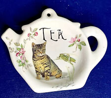 Vintage Crownford Giftware Mini Teapot Shaped Tabby Kitty Cat Floral Decor 5x3in