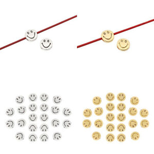 30 x Silver/Gold Tone Smile Face Round Spacer Beads 2 Sided for Jewellery Making