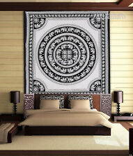 Queen Size Indian Mandala White Elephant Wall Decorative Tapestry Bedspread