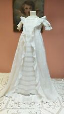 ANTIQUE CHRISTENING GOWN DRESS LACE COTTON LAWN 1900s MUSLIN BABY DOLL VINTAGE