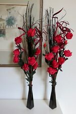 Set of 2 red artificial Roses in GLASS vases - wedding tables display lounge