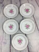 """5 CTSI Correct Table Service Brittany Rose Saucers Vintage - 5.5"""" / Japan"""