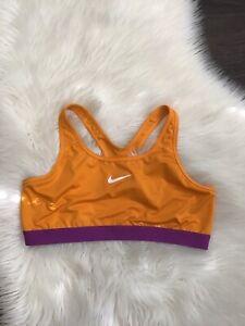 Nike Women's Dri Fit Orange Purple Sports Bra Top Light Mid Support Sz XL