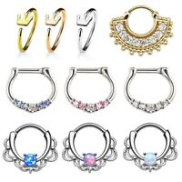 Surgical Steel Septum Clicker Nose Ring Hinge Segment Ear Helix Tragus Hoop 16g