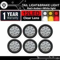 12 LED Clear Lens 6X 2 Red 2 Amber 2 White Brake Turn Reverse Tail Light Trailer