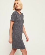 BNWT SUPERDRY Edison Ottoman Jersey T Shirt Dress M 10 12 Grey