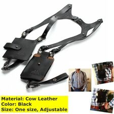 Black Cow Leather Anti-theft Hidden Underarm Holster Shoulder Wallet Phone Bag