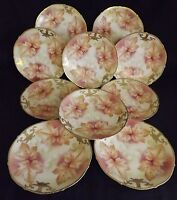 Tirschenreuth Bavaria #1779 10 Luncheon Plate Set -Signed Gold Trim Maple Leaves