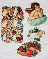 LOT Antique Victorian Diecut VALENTINES DAY SCRAPS Vintage for Craft Decor