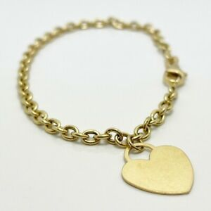 18k Yellow Gold Dangle Heart Bracelet Italy (8930)