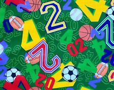 New listing 1/2 Yard Cotton Quilting Fabric Sports Numbers in Brilliant Colors on Green