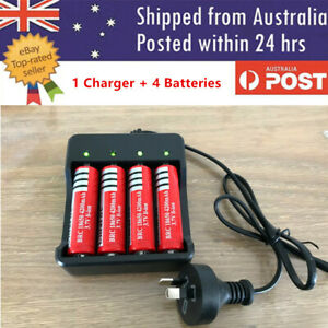 4x 3.7V 6800mAh Li-ion Rechargeable Battery + AU Plug Smart Charger Indicator