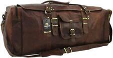 "Yuge Bear 32"" FS3 XXL Large Vtg Genuine Leather Flap Duffel Weekender Travel Bag"