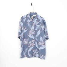 Vintage Abstract Short Sleeve Hawaiian Festival Shirt Blue | 2XL