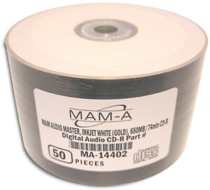 50-Pak MAM-A AUDIO MASTER Digital-Audio WHITE INKJET/GOLD 74-Min Archival CD-R's