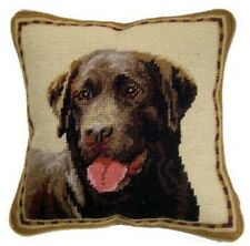 "Chocolate Lab/Labrador Retriever Dog  Needlepoint Pillow 10""x10"" NWT"