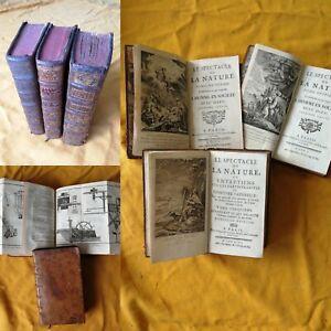 3 TOMES SPECTACLE DE LA NATURE HISTOIRE NATURELLE 1747/1750 PLANCHES ILLUSTREES