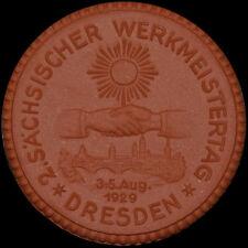 DRESDEN: Medaille 1929. Porzellan, Ernst Teichert. 2. SÄCHSISCHER WERKMEISTERTAG