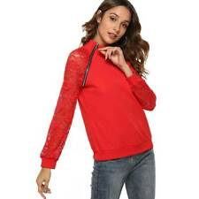 Women Sweatshirt Long Sleeve Round Neck With Lace Stitching Tops Pullover T3