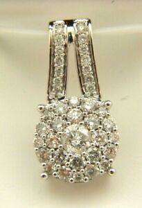 Cluster Pendant with Natural Diamond 1. Ctw 14K Solid White Gold.