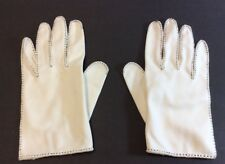 Ladies Vintage Gloves White With Black Stitching
