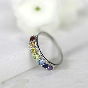 Seven Chakra Meditation Ring Rainbow Ring Healing Stone Yoga Ring
